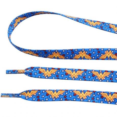 1 PAIR OF WONDERWOMAN DOUBLE SIDED PRINTED SHOE LACES LOOK BARGAIN